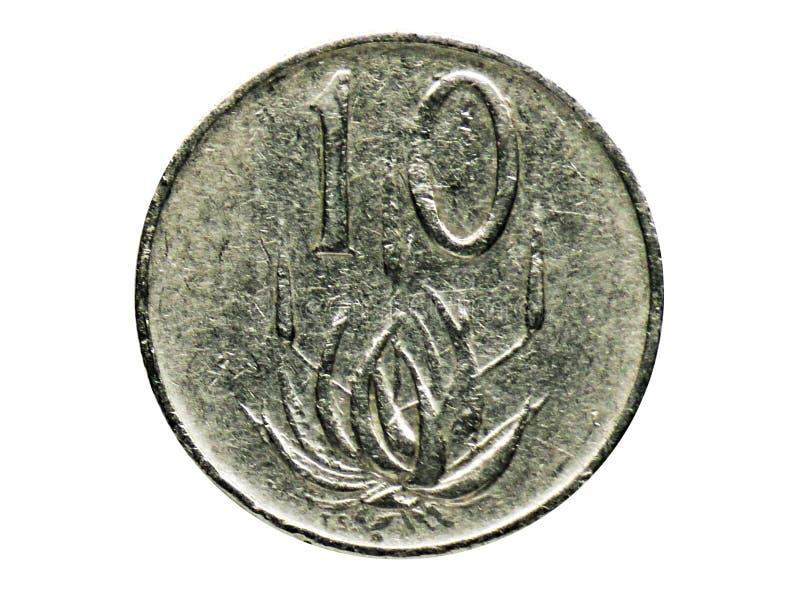 2$ος Πρόεδρος 10 σεντ Jacobus Fouché - αγγλικά - νόμισμα αφρικανολλανδικής, τράπεζα της Νότιας Αφρικής στοκ εικόνα