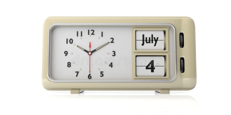 4ος της ημέρας της ανεξαρτησίας Ιουλίου στο παλαιό αναδρομικό ξυπνητήρι, άσπρο υπόβαθρο, που απομονώνεται τρισδιάστατη απεικόνιση διανυσματική απεικόνιση