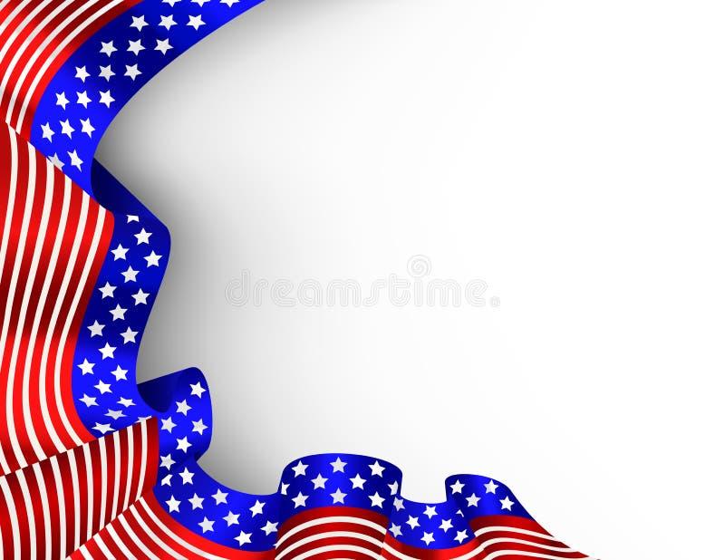4ος της κάρτας σημαιών Ιουλίου διανυσματική απεικόνιση
