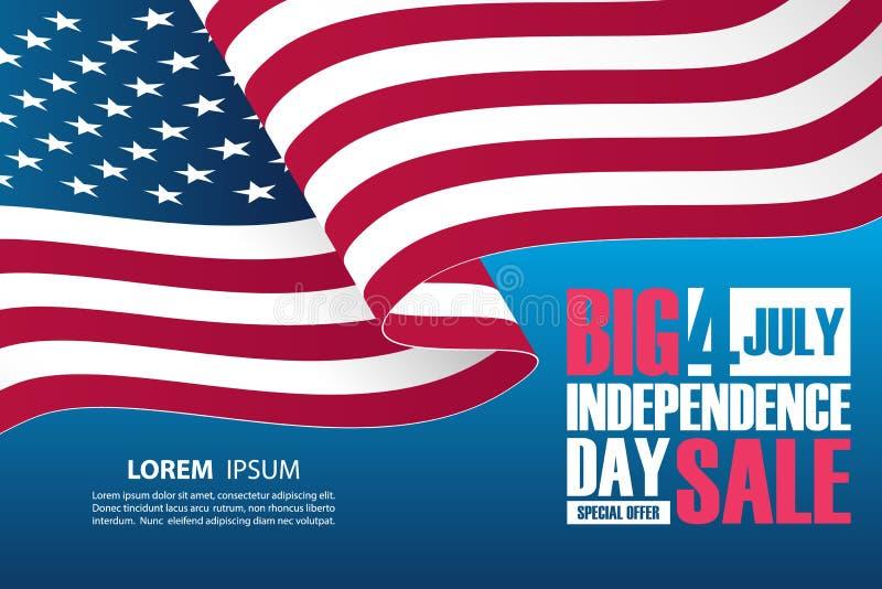 4ος του εμβλήματος πώλησης ημέρας της ανεξαρτησίας Ιουλίου με την κυματίζοντας αμερικανική εθνική σημαία ελεύθερη απεικόνιση δικαιώματος