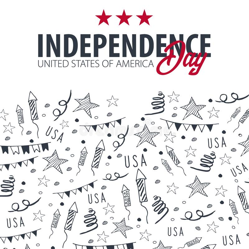 4ος του Ιουλίου Έμβλημα εορτασμού ΑΜΕΡΙΚΑΝΙΚΗΣ ημέρας της ανεξαρτησίας Το χέρι σύρει doodle το υπόβαθρο r διανυσματική απεικόνιση