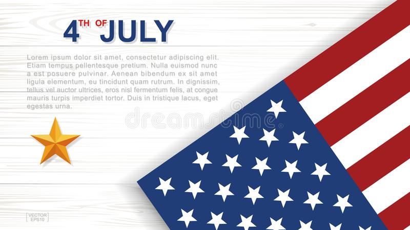 4ος του Ιουλίου - υπόβαθρο για την ΑΜΕΡΙΚΑΝΙΚΗ ημέρα της ανεξαρτησίας με το ξύλινο υπόβαθρο σύστασης διανυσματική απεικόνιση