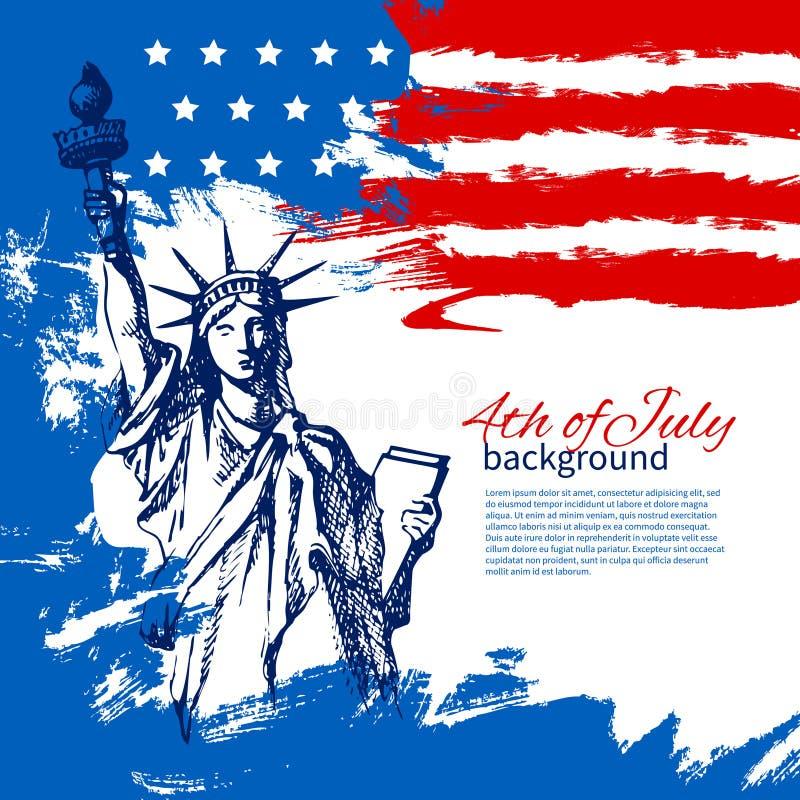 4ος του υποβάθρου Ιουλίου με τη αμερικανική σημαία ελεύθερη απεικόνιση δικαιώματος