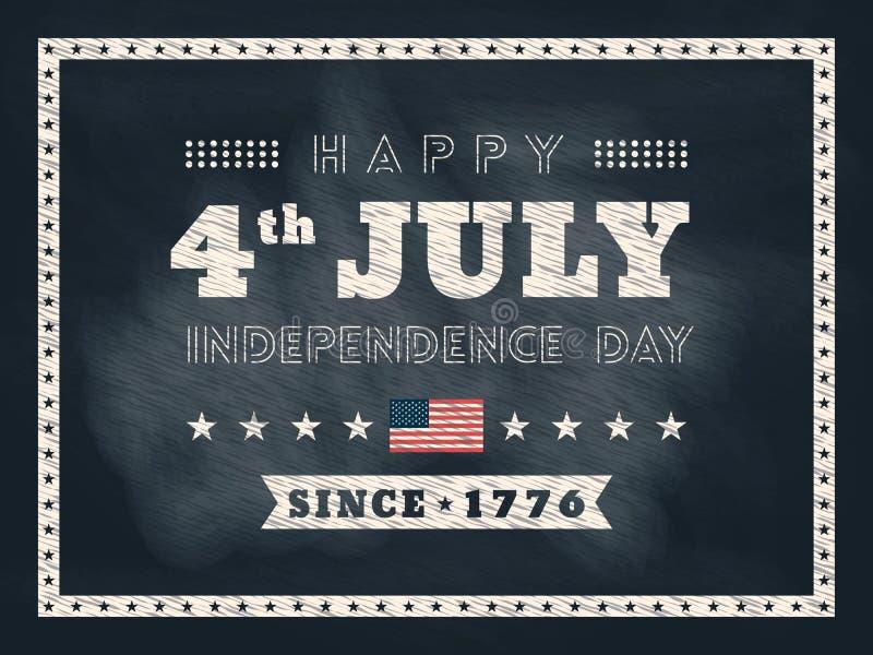 4ος του υποβάθρου πινάκων κιμωλίας ημέρας της ανεξαρτησίας Ιουλίου απεικόνιση αποθεμάτων