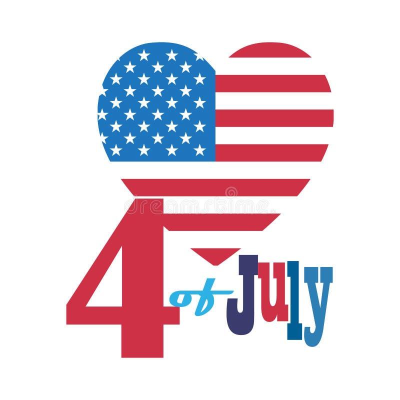 4ος των ευτυχών εικονιδίων συμβόλων ημέρας της ανεξαρτησίας Ιουλίου θέστε την πατριωτική αμερικανική σημαία, έμβλημα κορδελλών μπ διανυσματική απεικόνιση