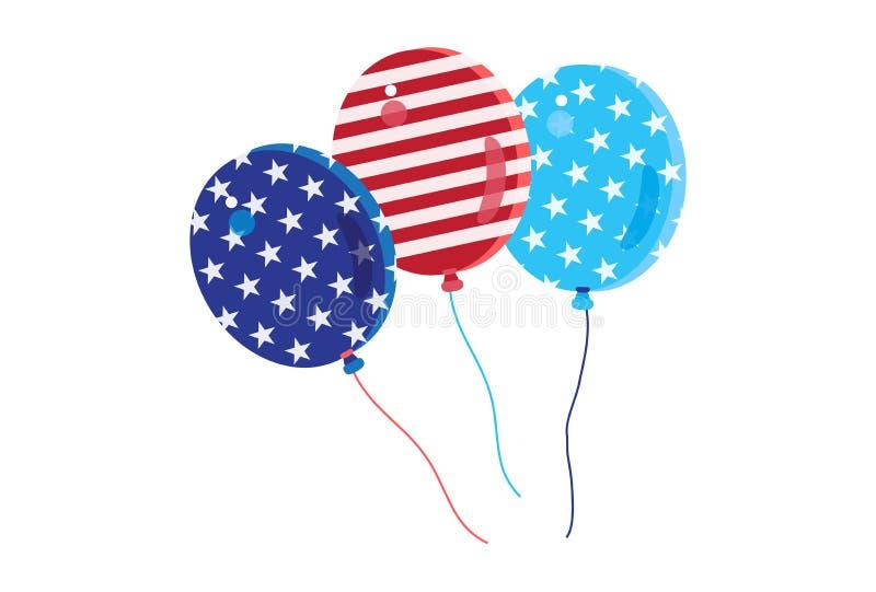 4ος των ευτυχών εικονιδίων συμβόλων ημέρας της ανεξαρτησίας Ιουλίου θέστε την πατριωτική αμερικανική σημαία, απομονωμένο μπαλόνια ελεύθερη απεικόνιση δικαιώματος