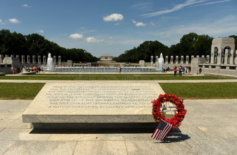 Ουάσιγκτον, συνεχές ρεύμα - 1 Ιουνίου 2018: Μνημείο Δεύτερου Παγκόσμιου Πολέμου στην πλύση στοκ εικόνα με δικαίωμα ελεύθερης χρήσης