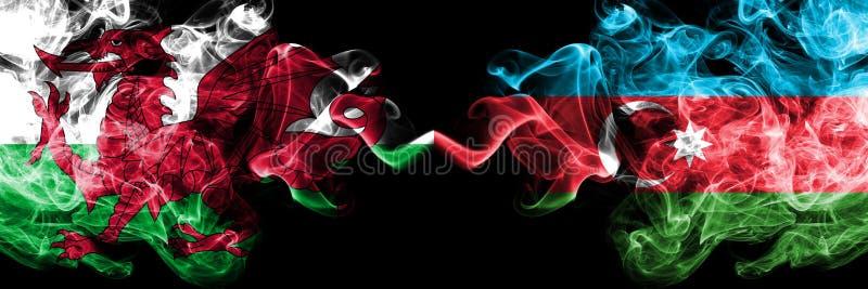 Ουαλία, ουαλλέζικα, σημαίες ανταγωνισμού του Αζερμπαϊτζάν ζωηρόχρωμες καπνώείς πυκνά Ευρωπαϊκοί αγώνες προσόντων ποδοσφαίρου στοκ φωτογραφίες