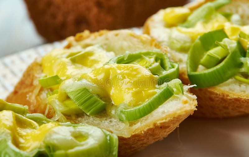 Ουαλλέζικα πράσο και τυρί Rarebit στοκ φωτογραφίες με δικαίωμα ελεύθερης χρήσης