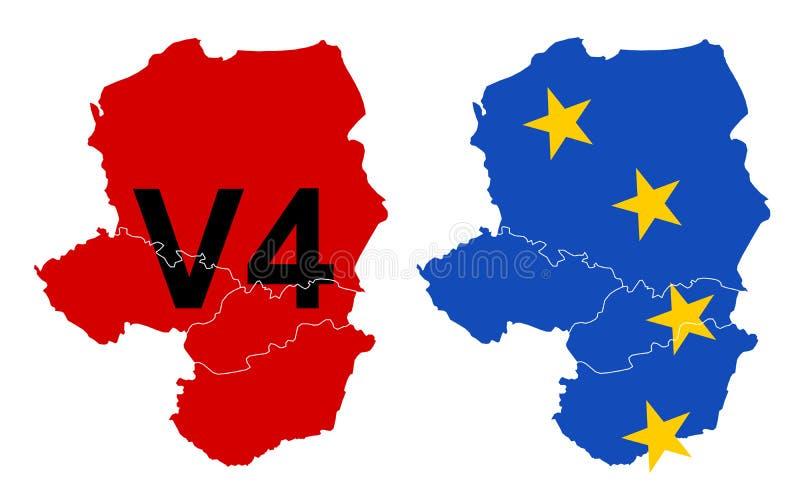 Ουγγαρία, Δημοκρατία της Τσεχίας, Πολωνία και Σλοβακία ως μέλη του Visegrad τέσσερα ομάδα του Visegrad, V4 διανυσματική απεικόνιση
