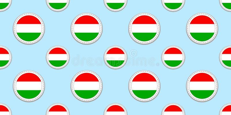 Ουγγαρία, υπόβαθρο Ουγγρικό άνευ ραφής σχέδιο σημαιών Στρογγυλές διανυσματικές αυτοκόλλητες ετικέττες Σύμβολα κύκλων Καλή επιλογή απεικόνιση αποθεμάτων