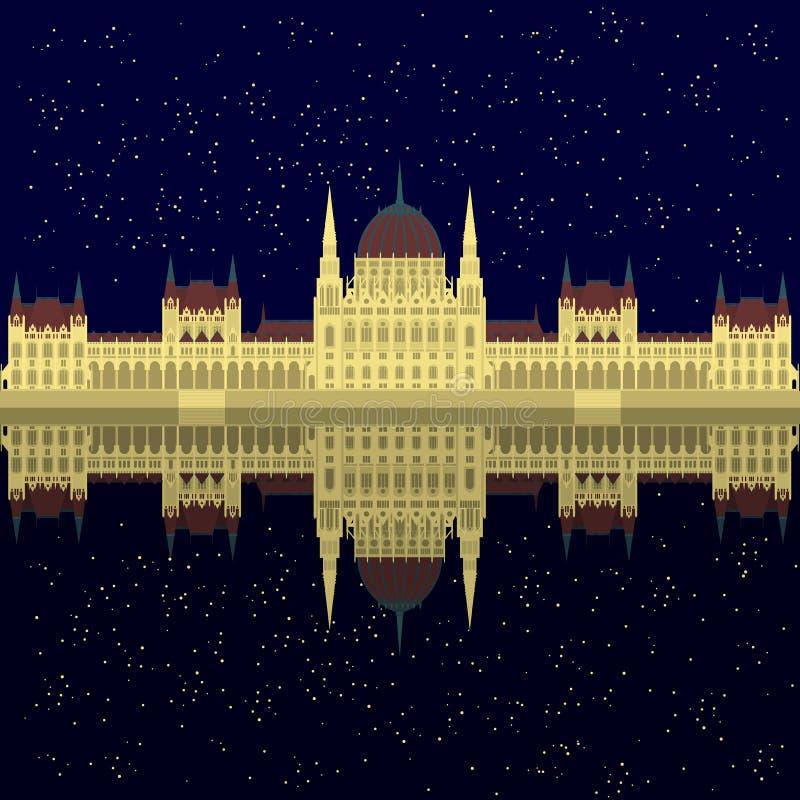 Ουγγρική θέα πόλεων Το Κοινοβούλιο της Βουδαπέστης νύχτας αστεριών στοιχείων αρχιτεκτονικής ταξιδιού και ταξιδιών ορόσημων της Ου απεικόνιση αποθεμάτων