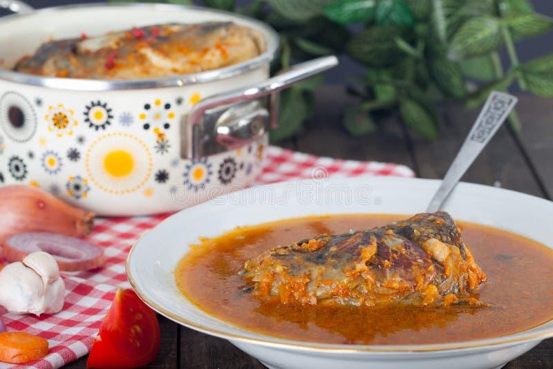 Ουγγρική παραδοσιακή σούπα ψαριών στοκ φωτογραφία