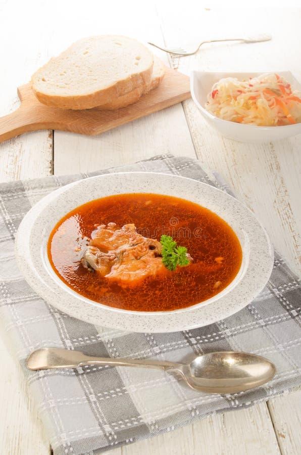 Ουγγρική σούπα ψαριών σε ένα πιάτο, μια σαλάτα και ένα ψωμί σούπας στοκ φωτογραφίες