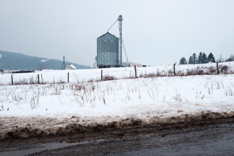 Ουγγρικό αγροτικό τοπίο το χειμώνα στοκ εικόνα
