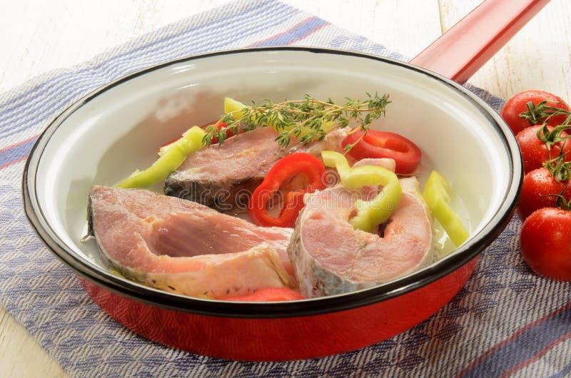 Ουγγρικό τηγάνι ψαριών με την μπριζόλα, την πάπρικα και το θυμάρι κυπρίνων στοκ εικόνες με δικαίωμα ελεύθερης χρήσης