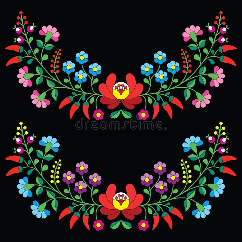 Ουγγρικό floral λαϊκό σχέδιο - κεντητική Kalocsai με τα λουλούδια και την πάπρικα ελεύθερη απεικόνιση δικαιώματος