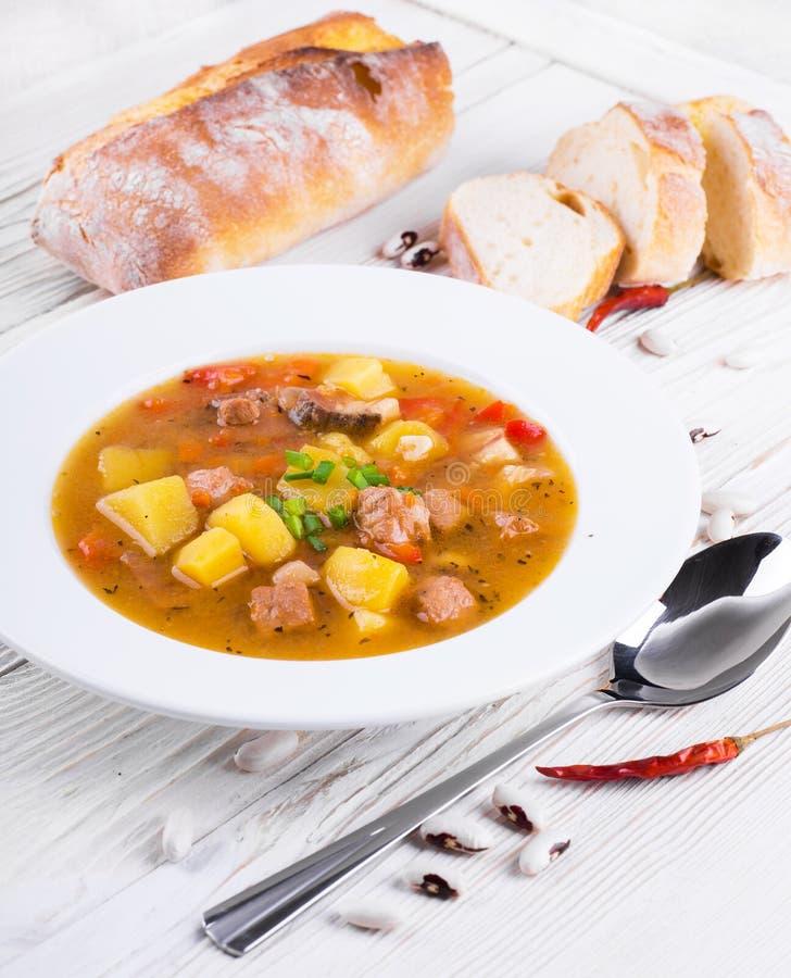 Ουγγρικό goulash με τα φασόλια στοκ εικόνα με δικαίωμα ελεύθερης χρήσης