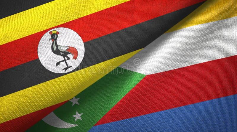 Ουγκάντα και Κομόρες δύο υφαντικό ύφασμα σημαιών, σύσταση υφάσματος απεικόνιση αποθεμάτων