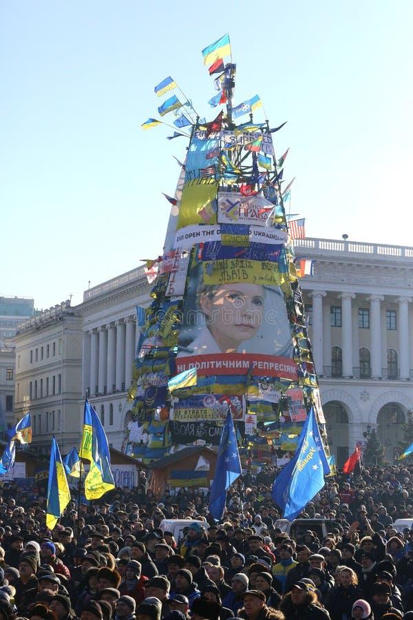 2014 Ουκρανία Κίεβο Διαμαρτυρίες στο Κίεβο στο τετράγωνο ανεξαρτησίας ενάντια στις αρχές στοκ φωτογραφία με δικαίωμα ελεύθερης χρήσης
