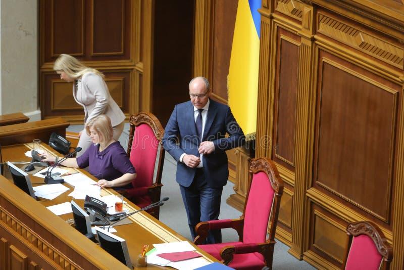 09 04 2019 Ουκρανία Κίεβο Verkhovna Rada της Ουκρανίας Ομιλητής του Κοινοβουλίου της Ουκρανίας Andrei Paruby στην εξέδρα στοκ εικόνες