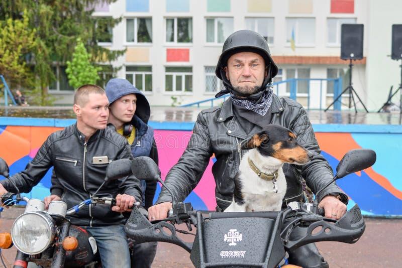 ΟΥΚΡΑΝΙΑ, SHOSTKA - 4 Μαΐου 2019: Ο ποδηλάτης κάθεται με το σκυλί του στη μοτοσικλέτα του στοκ εικόνα