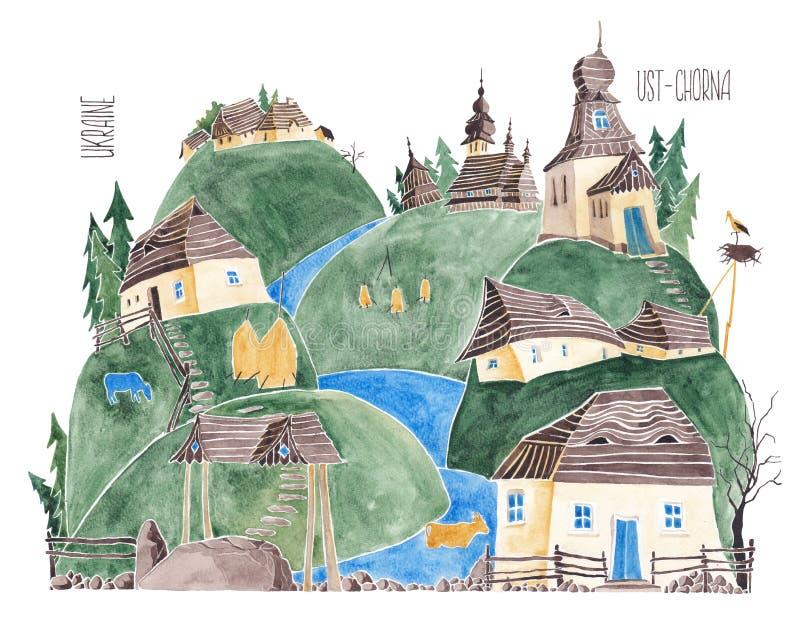 Ουκρανικά Carpathians watercolor απεικόνιση αποθεμάτων