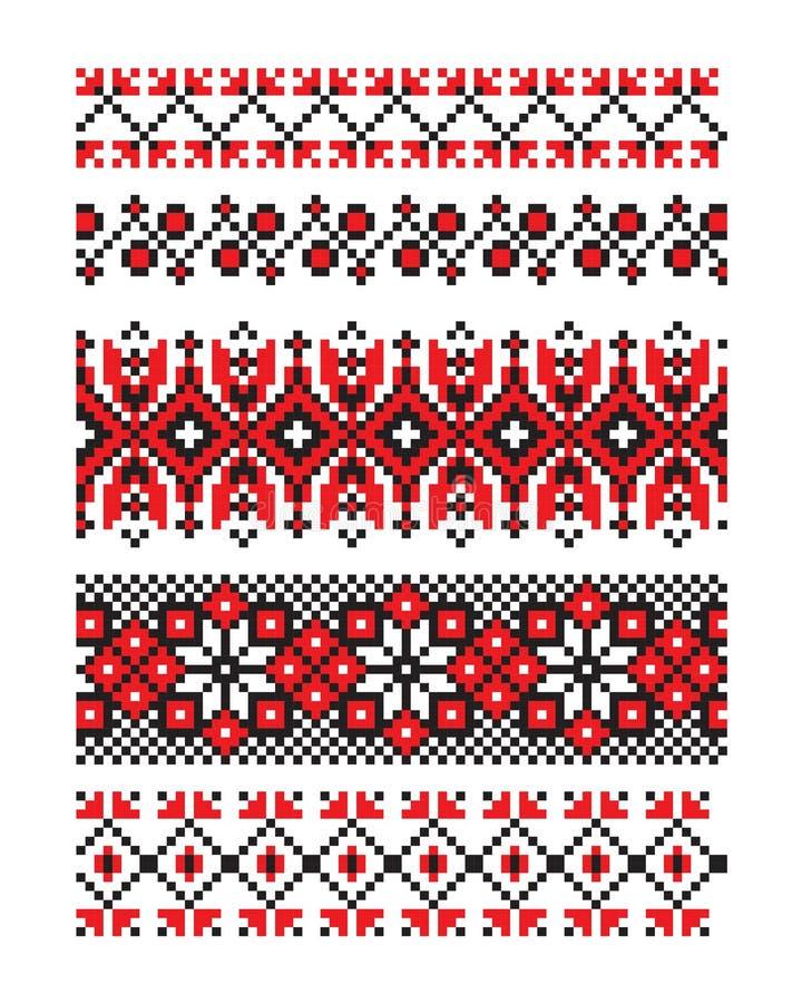 Ουκρανικό διανυσματικό μέρος 10 διακοσμήσεων απεικόνιση αποθεμάτων