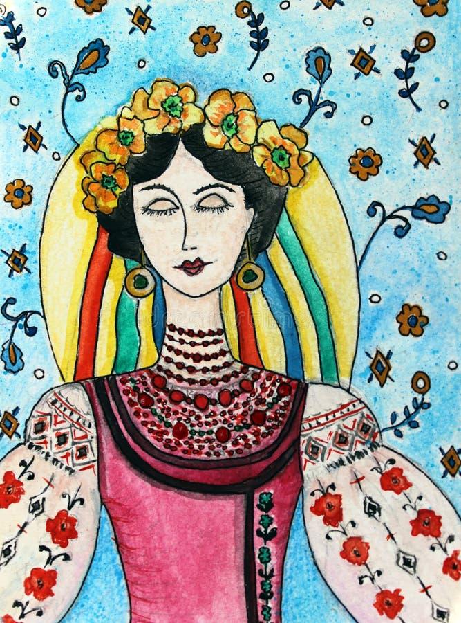 Ουκρανικό κορίτσι στο εθνικό κοστούμι ελεύθερη απεικόνιση δικαιώματος