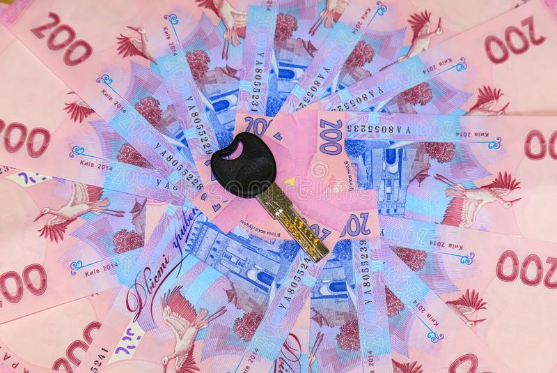 Ουκρανικό hryvnia, ένας λογαριασμός του hryvnia 200 με ένα κλειδί από το διαμέρισμα όπου τα χρήματα είναι, Ουκρανία στοκ εικόνα