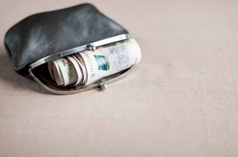 Ουκρανικό hryvnia σε ένα εκλεκτής ποιότητας καφετί πορτοφόλι, στοκ εικόνες