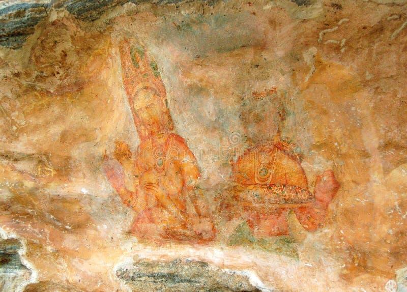 Ουράνιες νύμφες Apsara - αρχαία ζωγραφική στους τοίχους στοκ εικόνα