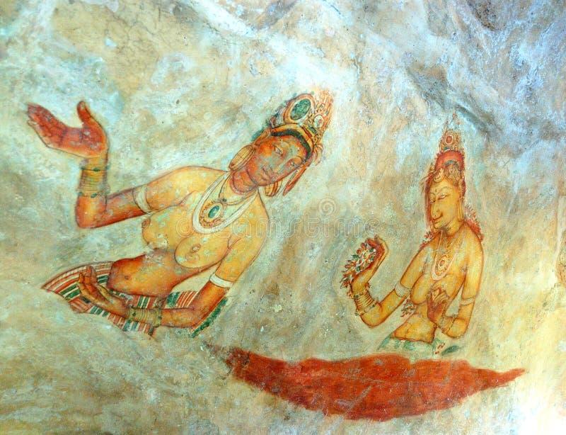 Ουράνιες νύμφες Apsara - αρχαία ζωγραφική στοκ φωτογραφία με δικαίωμα ελεύθερης χρήσης