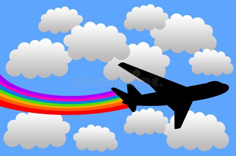 ουράνιο τόξο αεροπλάνων διανυσματική απεικόνιση