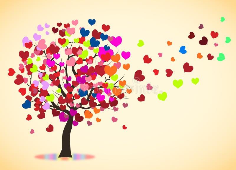 Ουράνιο τόξο δέντρων αγάπης διανυσματική απεικόνιση