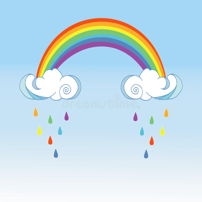 Ουράνιο τόξο και βρέχοντας σύννεφα στο υπόβαθρο χρώματος Χαριτωμένο σχέδιο αφισών σύννεφων για το ντεκόρ δωματίων μωρών, διακόσμη στοκ εικόνες με δικαίωμα ελεύθερης χρήσης