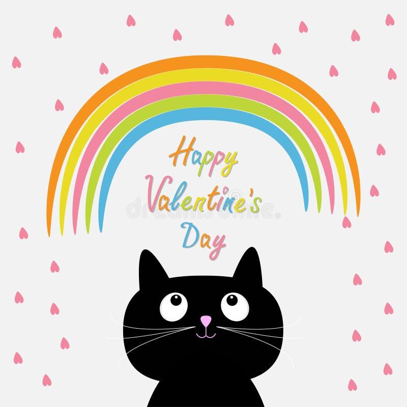 Ουράνιο τόξο και ρόδινη βροχή καρδιών με τη χαριτωμένη γάτα κινούμενων σχεδίων ελεύθερη απεικόνιση δικαιώματος