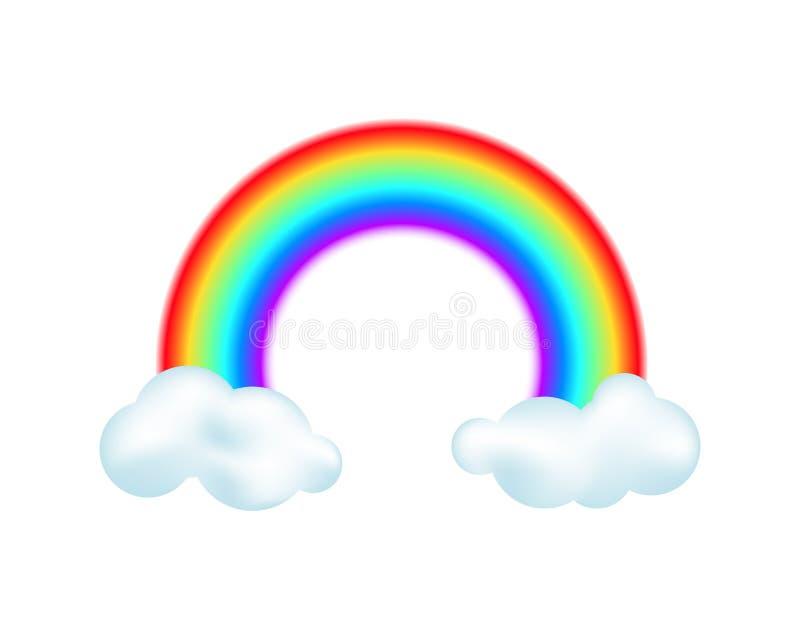 Ουράνιο τόξο και σύννεφα στο άσπρο υπόβαθρο διανυσματική απεικόνιση