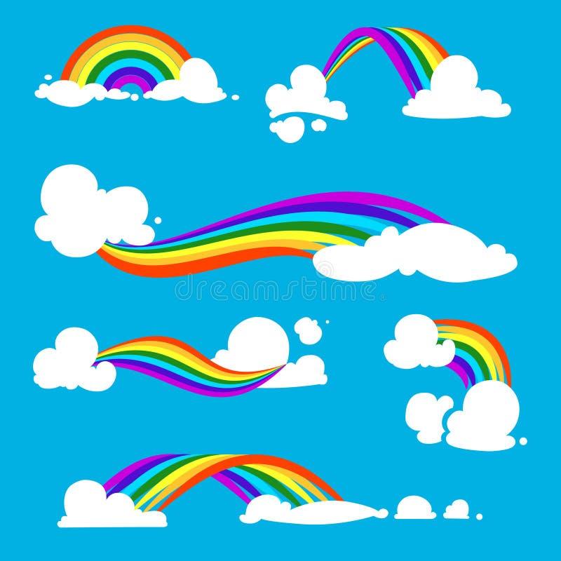 Ουράνιο τόξο και σύννεφα στο επίπεδο ύφος μεταφορτώστε το έτοιμο διάνυσμα εικόνας απεικονίσεων διανυσματική απεικόνιση