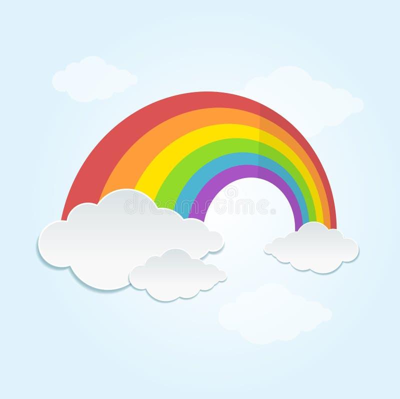 Ουράνιο τόξο και σύννεφο στον ουρανό διάνυσμα απεικόνιση αποθεμάτων