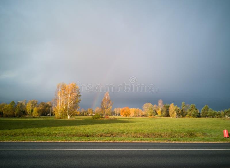 Ουράνιο τόξο και χρωματισμένα δέντρα σε μια πλευρά του αγροτικού δρόμου ασφάλτου το πρωί στοκ φωτογραφίες
