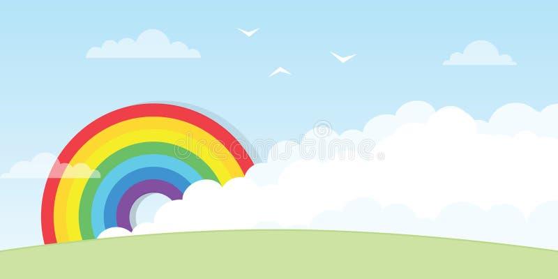 Ουράνιο τόξο με το μεγάλο σύννεφο ελεύθερη απεικόνιση δικαιώματος