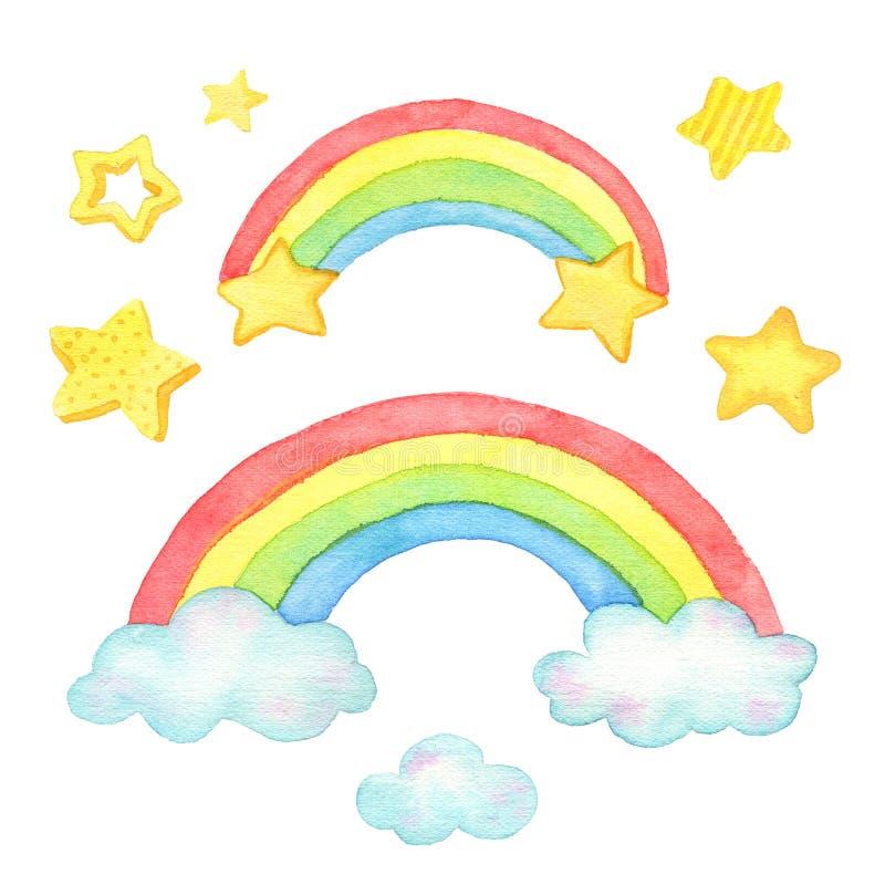 Ουράνιο τόξο, σύννεφα και αστέρι Watercolor Για το σχέδιο, την τυπωμένη ύλη ή το υπόβαθρο απεικόνιση αποθεμάτων