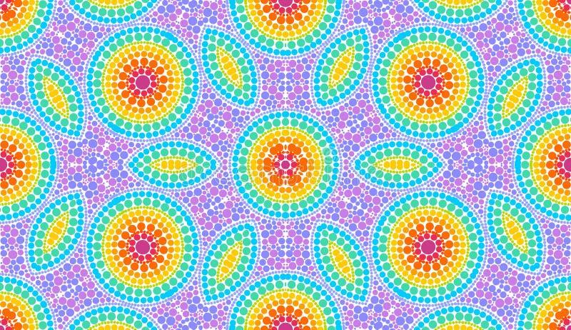 Ουράνιων τόξων διαστιγμένο χρώματα κεραμίδι σχεδίων τέχνης άνευ ραφής απεικόνιση αποθεμάτων