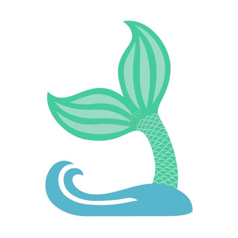 Ουρά γοργόνων με το κύμα Σκιαγραφία του εικονιδίου ουρών φαλαινών Ουρά ψαριών διάνυσμα ελεύθερη απεικόνιση δικαιώματος