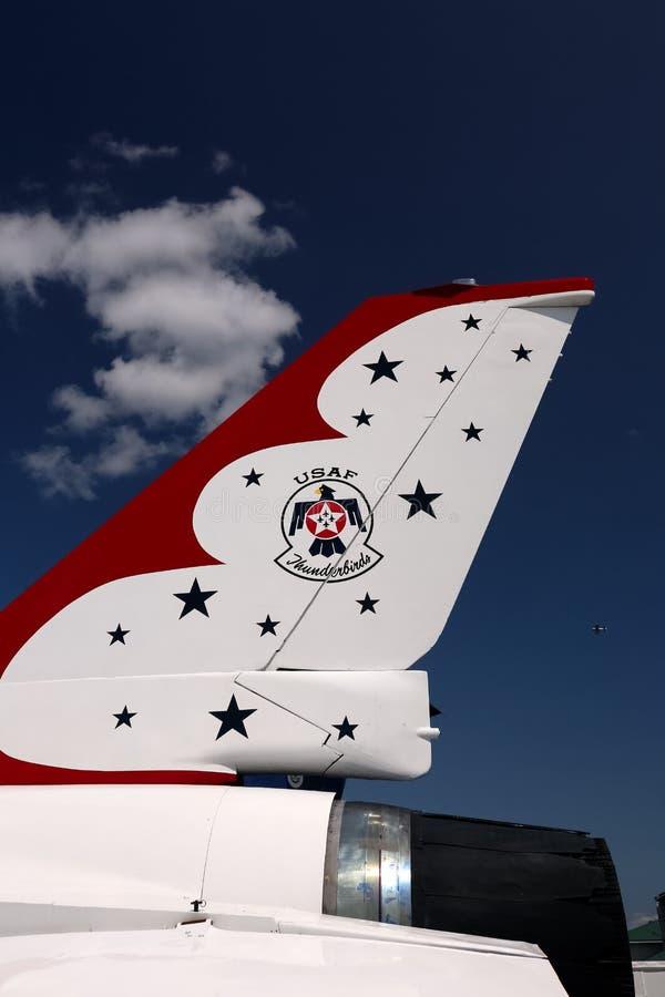 Ουρά USAF Thunderbird με το έμβλημα στοκ φωτογραφίες