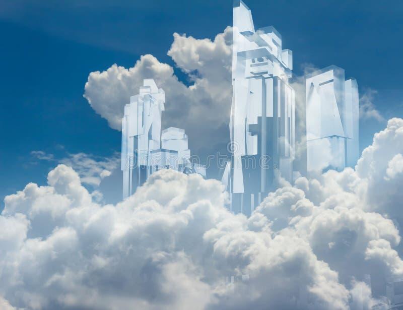 Ουρανοξύστες κρυστάλλου στα σύννεφα διανυσματική απεικόνιση