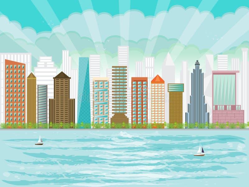 Ουρανοξύστες πολυκατοικιών προκυμαιών πόλεων αστικοί απεικόνιση αποθεμάτων