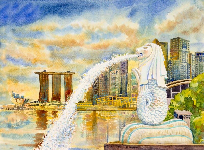 Ουρανοξύστες πόλεων της ΣΙΓΚΑΠΟΎΡΗΣ Έργα ζωγραφικής Watercolor διανυσματική απεικόνιση