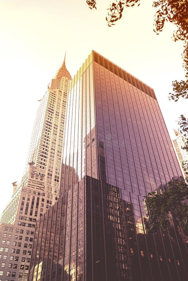 Ουρανοξύστες στο Μανχάταν στο ηλιοβασίλεμα στοκ εικόνες με δικαίωμα ελεύθερης χρήσης